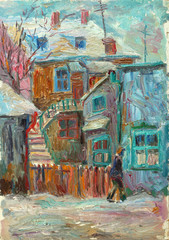 Beautiful bright colors  winter Original Oil Painting ofman walking on the street On Canvas