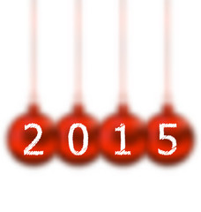 Happy new year in hanging glass ball on white background