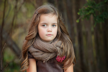 portrait of a beautiful four year old girl with long hair on a warm autumn day