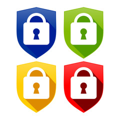 Lock Shield Multi Colored Logo Template