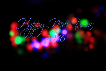 """Bokeh lights background with word """"Happy New Year 2016"""""""