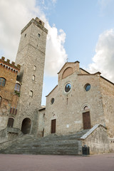 Fototapete - Piazza del Duomo in San Gimignano,Tuscany,Italy