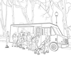 Sketch street fast food