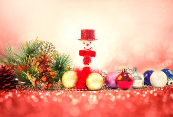 Christmas decoration  and gifts on sweet red pink glitter lighti