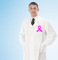 Female doctor man  with pink ribbon symbol female health.Health