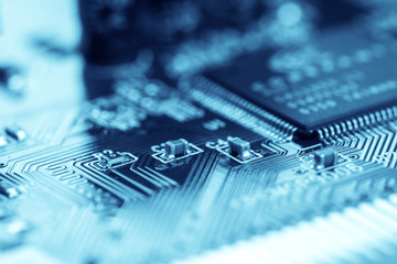 selective focus of close up computer electronic circuit board