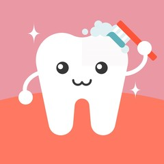Vector tooth cleaning itself cartoon, flat design