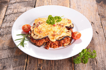 moussaka witheggplant, beef and tomato sauce