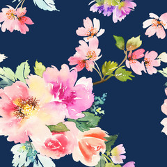 Seamless pattern with flowers watercolor. Gentle colors.