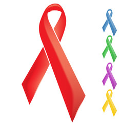 Red support solidarity theme ribbon