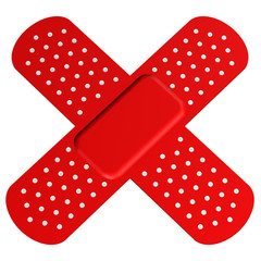 Two Crossed Red Bandages