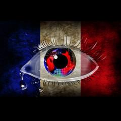 скорбь за убитыми людьми во Франции