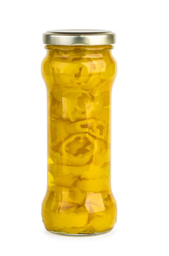 Glass jar with marinated yellow banana pepper slices