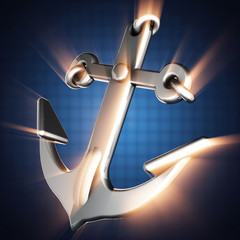 metallic anchor on blue background