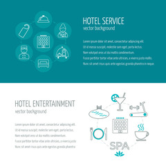 Horizontal banners of hotel service and entertainment. Icons in the flat design with sample text. Vector