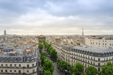 Paris Skyline with Madeleine Church and Eiffel Tower