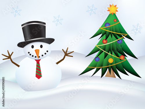 Cute Snowman With Top Hat And Tie And Christmas Tree With Snow Land