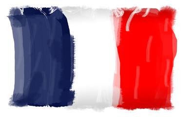 Mit Pinsel gemalte Französische Flagge