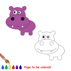 Vector cartoon hippo to be colored.