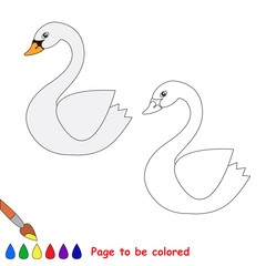 Vector cartoon swan to be colored.