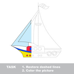 Vector trace game. Boat to be colored.
