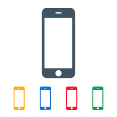 smartphone icons colored set on the white background. stock vector illustration eps10