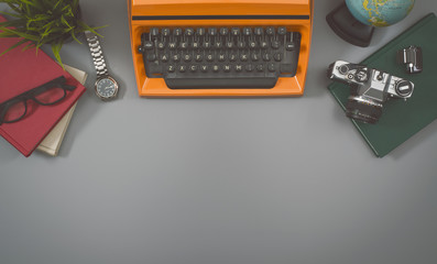 Top view retro office desk hero header