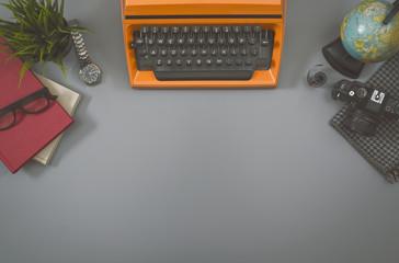 Top view retro office desk hero header