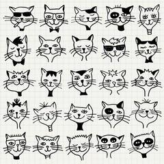 Kollektion mit handgezeichneten Kätzchen