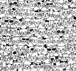 Seamless Pattern / Hintergrundmuster mit handgezeichneten Katzen (schwarzweiß)