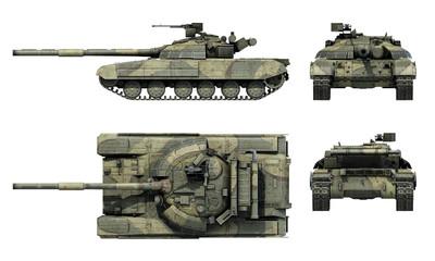 "Ukrainian tnak T-64BM ""Bulat"". 3D-render"