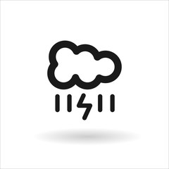 Black cloud with lightning and rain line icon