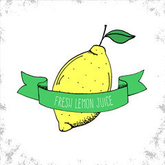 Hand Drawn Fresh Lemon Juice Label