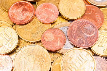 Euro coins as background