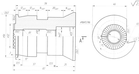 Abstract engineering draft with sections and measures for your site