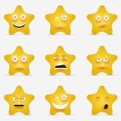 Cartoon stars with emotional faces in cartoon style or idea of logo