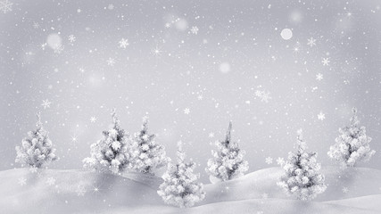 snow covered trees christmas illustration