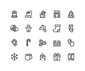 Twenty Christmas and New Year icons isolated on white