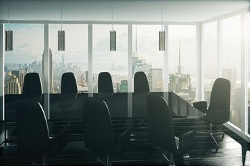 Modern black style conference room with city view