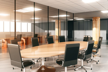 Modern conference room with furniture