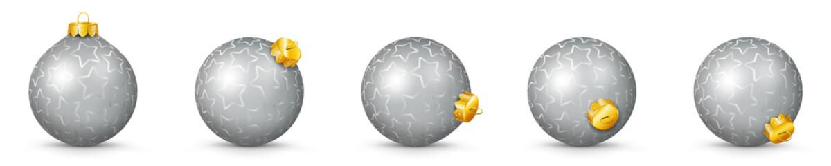 Vektor Weihnachtskugeln - Silbern, grau mit Textur - verschiedenen Perspektiven - Isoliert auf weißem Hintergrund - Jede Kugel ist gruppiert und mit weißer Hintergrund-Ebene.