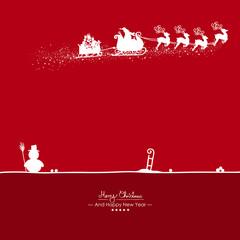 Rote Vektor Grußkarte für Weihnachten und Neujahr- Merry Christmas - Happy New Year - Jahreswechsel. Weihnachtskarte mit Silhouette. Weihnachtsmann mit Rentierschlitten, Anhänger und Geschenken. X-Mas