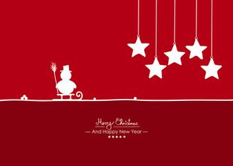 Rote Vektor Grußkarte für Weihnachten und Neujahr- Merry Christmas - Happy New Year - Jahreswechsel. Weihnachtskarte mit Schneemann auf Schlitten und hängenden Sternen. Weiße Silhouetten, Shapes.