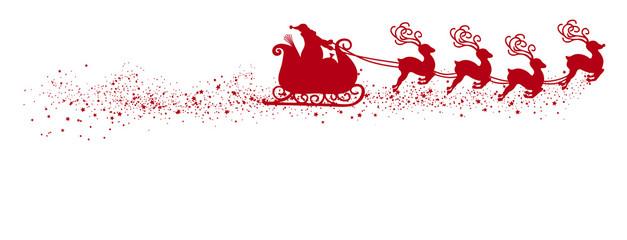 Fliegender Weihnachtsmann mit Rentierschlitten und Schweif. Freigestellte, rote Vektor Silhouette, isoliert auf weißem Hintergrund. Shape, Kontur, Schattenriss Vorlage. Weihnachtssymbol - Symbol.