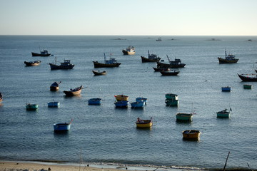Fishing boats. Vietnam beach.