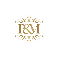 P&M Initial logo. Ornament ampersand monogram golden logo