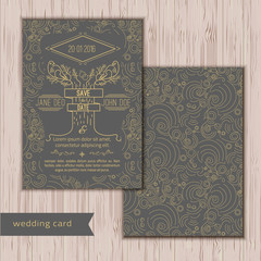 Vector save the date card template - wedding invitation in trendy linear style with tree, labels and birds in branches on dark background. EPS10