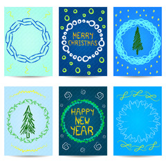 Set of six Christmas cards. New year design.