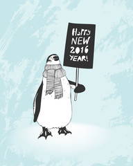 Happy New 2016 Year congratulation card. Penguin with banner