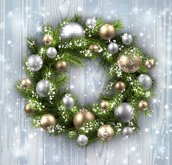 Card with Christmas wreath.